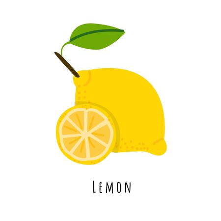 Lemon fruit flat vector illustration. Cartoon slices of fresh fruit. Isolated icon with shadow. Yellow citrus creative clipart with typography for healthy cooking menu, design element 일러스트