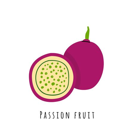 Passion fruit flat vector illustration. Cartoon slices of exotic, tropical fresh fruit. Clipart with typography. Isolated icon for healthy cooking menu, design element Çizim