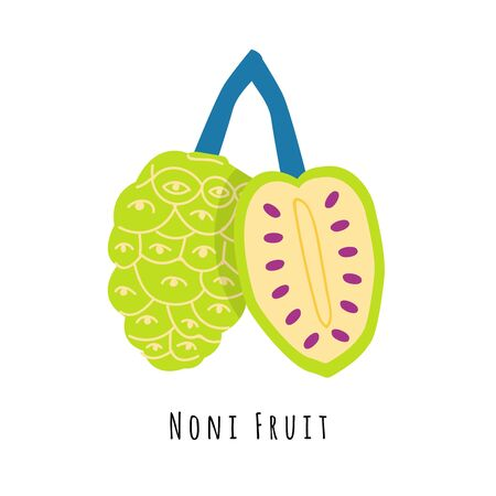 Noni fruit flat vector illustration. Cartoon slices of exotic, tropical fresh fruit. Clipart with typography. Isolated icon for healthy cooking menu, design element
