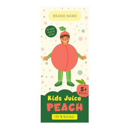 Kids juice peach flat packaging template. Smiling kid dressed peach costume cartoon character. Delicious beverage, natural juice for children design. Colorful label for juice advertising 일러스트