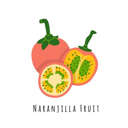 Naranjilla fruit flat vector illustration. Cartoon slices of exotic, tropical fresh fruit. Clipart with typography. Isolated icon for healthy cooking menu, design element 일러스트