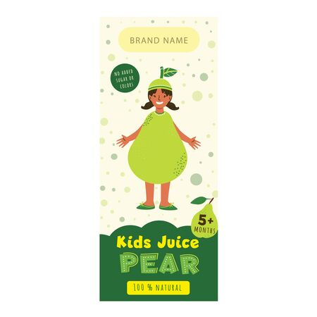 Kids juice pear flat packaging template. Smiling girl dressed in pear costume cartoon character. Tasty drink, natural juice for children design. Colorful label for juice advertising