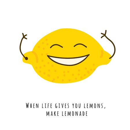 Smiling cute  lemon with hands flat vector illustration. Handwritten text, funny slogan. When life gives you lemons, make lemonade. Isolated fruit cartoon character with typography 일러스트