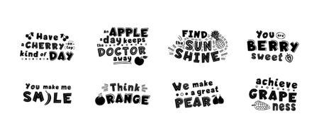 Black motivational, inspirational quote, phrase stylized typography. You berry sweet, think orange illustration. Optimistic t shirt print, inspiring greeting card 일러스트