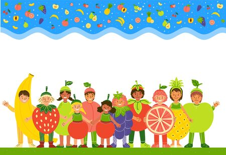 Kids in fruit costumes flat vector illustration. Smiling multiracial children dressed in  funny clothes cartoon characters. Healthy nutrition. Smiling boy and girls wearing fruit clothing 일러스트