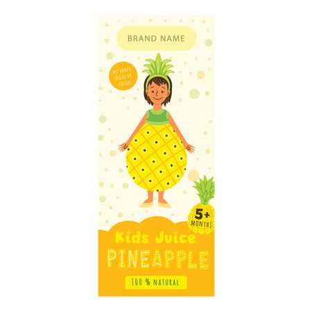 Kids juice pineapple flat packaging template. Smiling girl in childish fruit clothing cartoon character. Tasty beverage, natural juice for children design. Colorful label for juice advertising