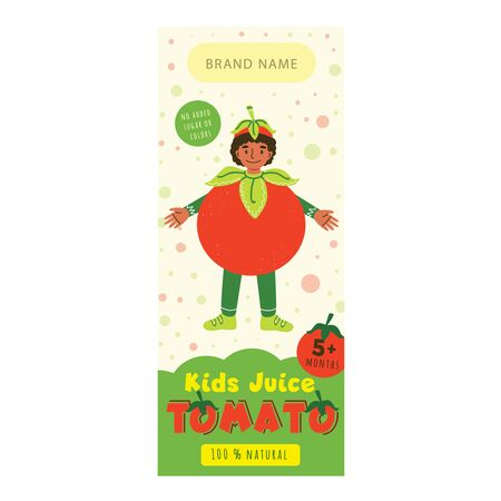 Kids juice tomato flat packaging template. Smiling child in tomato costume cartoon character. Delicious beverage, tasty natural drink for children design. Colorful label for juice advertising