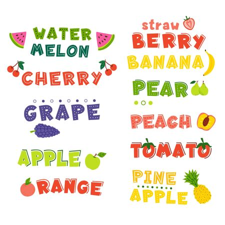 Fruits hand drawn vector lettering set. Cartoon exotic, tropical fresh fruits. Gardening products. Organic nutrition, orange, pineapple, apple, tomato, cherry colorful typography collection Иллюстрация