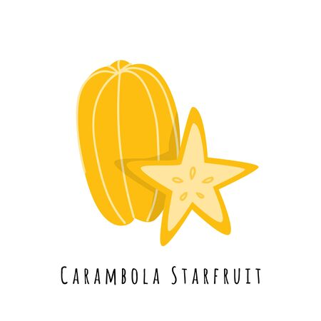 Carambola star fruit flat vector illustration. Cartoon slices of exotic, tropical fresh fruit. Clipart with typography. Isolated icon for healthy cooking menu,  design element