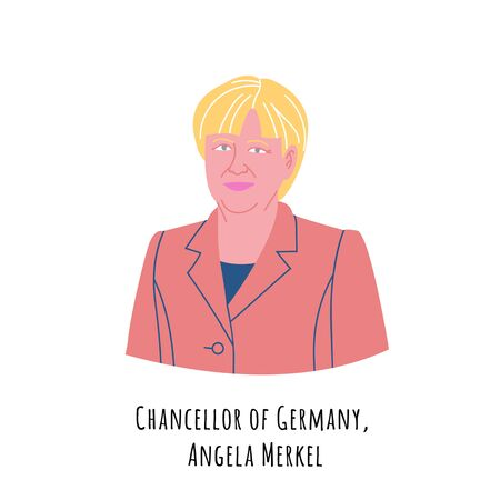 Angela Merkel hand drawn color portrait illustration. The Federal Republic of Germany Chancellor. Respectable person in suit cartoon character. German government chief.