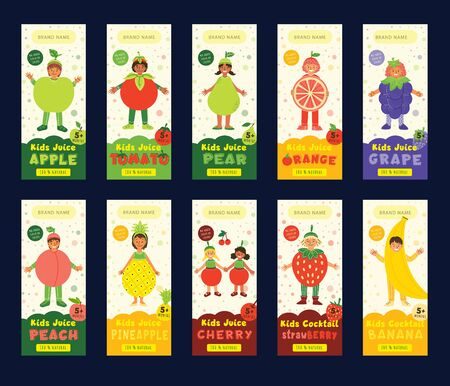 Kids fruit juice packaging vector templates set. Smiling children in fruits costumes cartoon character. Tasty beverage for kids illustrations collection. Colorful label for natural drink advertising
