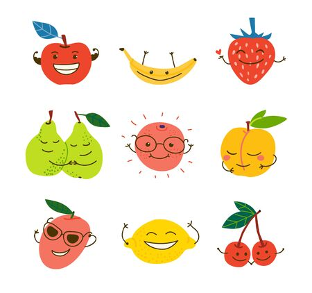 Happy juicy fruits hand drawn illustrations set. Smiling kawaii berries cartoon characters. Exotic food with faces. Tropical delicacy flat drawings pack. Organic summer dessert, healthy natural meal