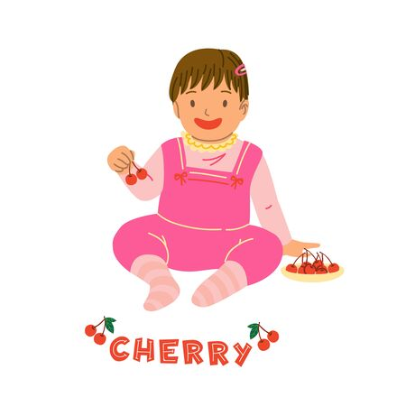 Kid eating cherry berry flat vector illustration. Caucasian girl child in pink romper, sitting toddler cartoon character. Healthy nutrition, vitamins for children, organic food isolated design element