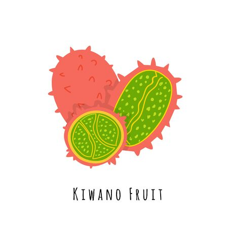 Kiwano fruit flat vector illustration. Cartoon slices of exotic, tropical fresh fruit. Kiwano melon clipart with typography. Isolated icon for healthy cooking menu, design element