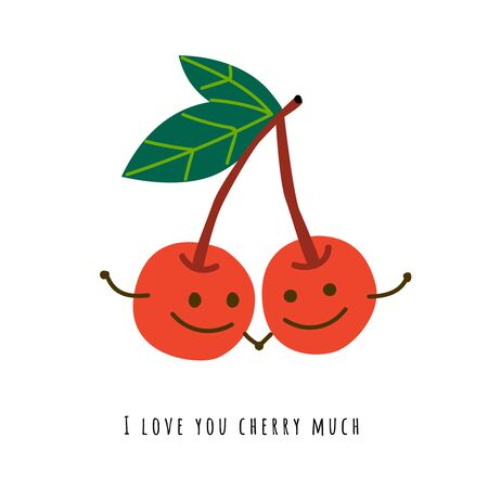 Smiling cherry hand drawn flat illustration. Happy berries holding hands cartoon characters. Organic delicacy with romantic message. Love confession. Greeting card, postcard concept with typography