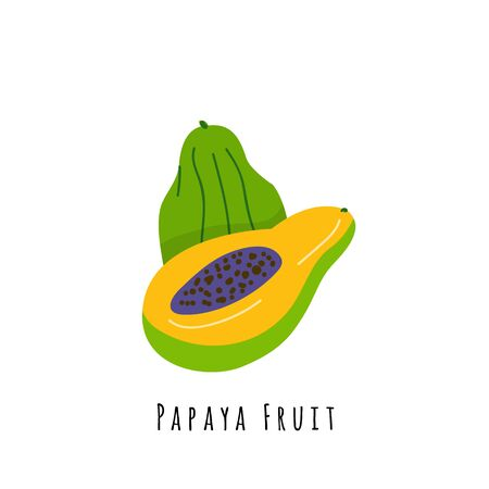 Papaya fruit flat vector illustration. Cartoon slices of exotic, tropical fresh fruit. Papaya creative clipart with name. Isolated icon for healthy cooking menu, design element