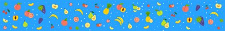 Fruity flat vector banner. Different fruits, berries on blue background. Banana, apple, grape isolated clipart collection, Ripe, raw fruits design element