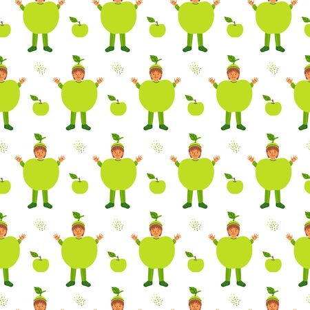 Kid in apple fruit costume flat vector seamless pattern. Childish green clothing for kindergarten performance, show, carnival color background. Children textile, wrapping paper design idea Иллюстрация