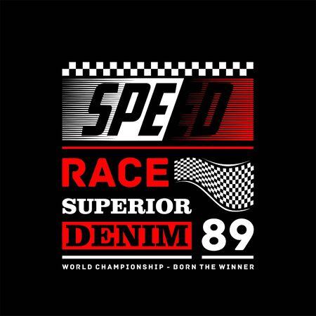 Speed race superior denim vintage t-shirt design 向量圖像