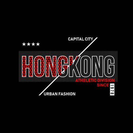 hongkong capital city typography vintage fashion design