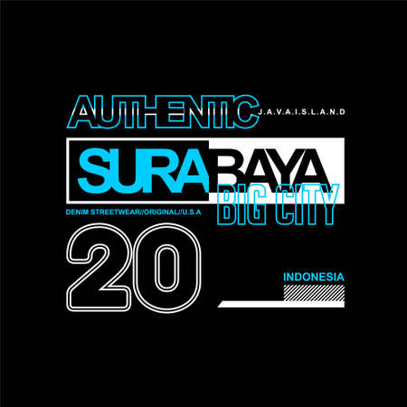 authentic surabaya big city indonesia typohraphy for tshirt print