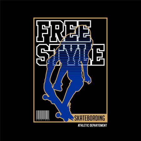 free style skateboarding vintage fashion Vettoriali