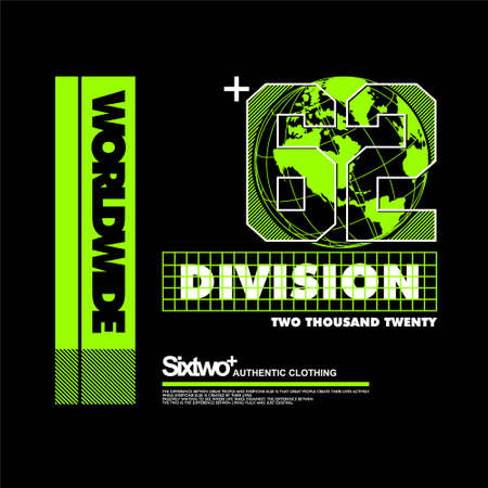 sixtwo 62 worldwide division streetwear clothing Vettoriali