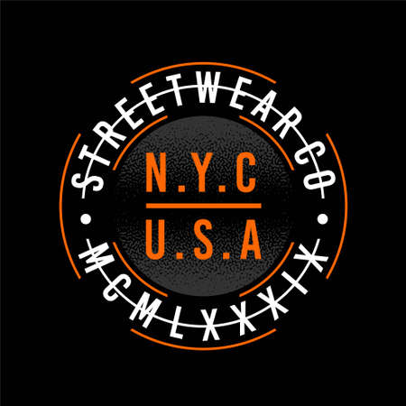 streetwear co nyc usa original mcmlxxxix vintage Stock Illustratie