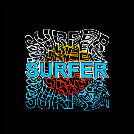 surfer typography illustration vector tees design