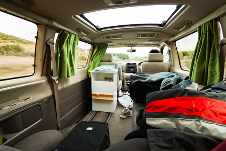 beethoven: Messy camper van. Stock Photo