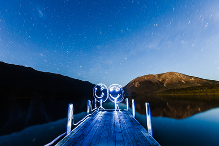 light painting: Light Painting at Lake Rotoiti. Stock Photo