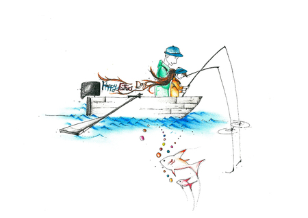 A drawing vector illustration of a father and a child fishing on a boat writing happy fathers day illustration