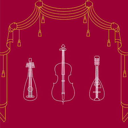 orchestral: Colorful vector background with three musical instrument