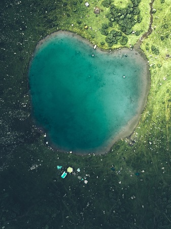 Lake In Heart Shape Aerial View, Beautiful Landscape With Lake