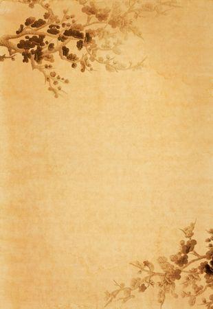 parchemin: le vieux papier avec un dessin floral Banque d'images
