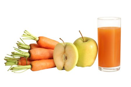 fresh carrot and apple juice (isolated) Stok Fotoğraf