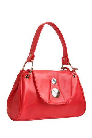 red female handbag isolated on white