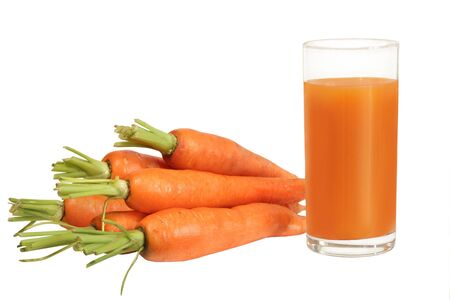 vitamines: fresh carrot juice isolated Stock Photo