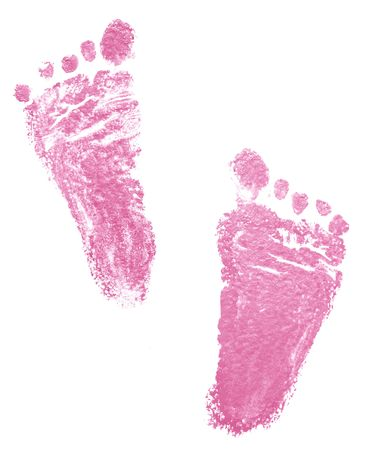 boy feet: Traces of newborn girl (2 months) Stock Photo