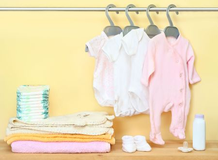 clothes and accessories for newborn Stock Photo
