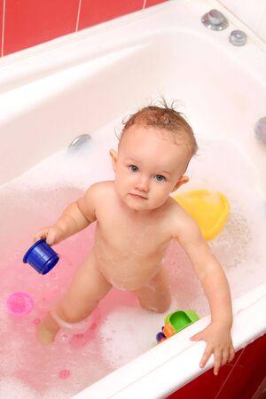 little girl bath: baby bath Stock Photo