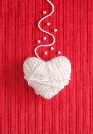Heart of Yarn - Valentines card Stok Fotoğraf