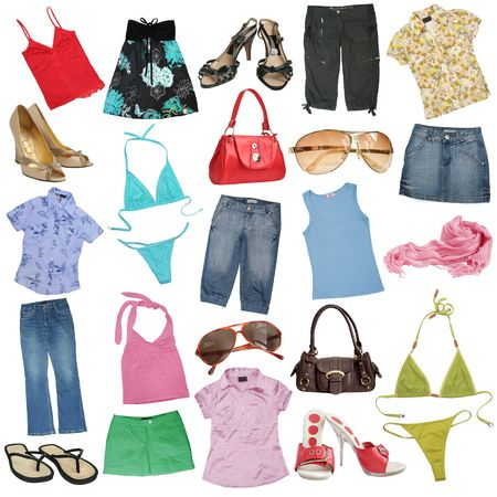 Different female clothes, shoes and accessories.