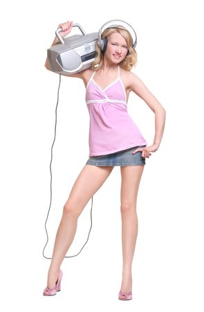 happy young girl with headphones and music boombox photo