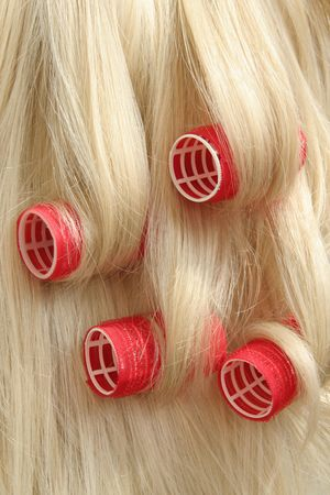 hair shampoo: hair in hair rollers