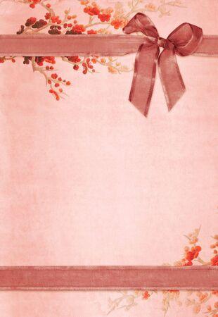 Vintage paper card with floral design