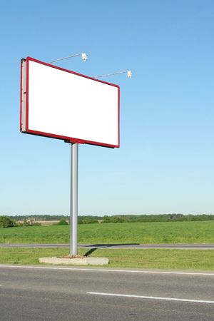 Billboard for advertisement on blue sky photo