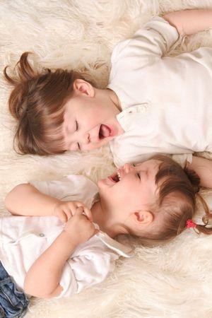 Two girls laughing Stok Fotoğraf