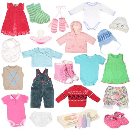 Different child`s clothes, shoes and accessories.