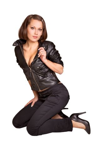 sexy girl in a black leather jacket isolated on white